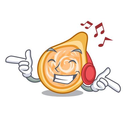 Listening music chicken coxinha isolated on a mascot vector illustration Foto de archivo - 126726144