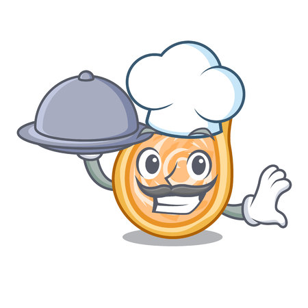 Chef with food chicken coxinha isolated on a mascot vector illustration Foto de archivo - 126726151