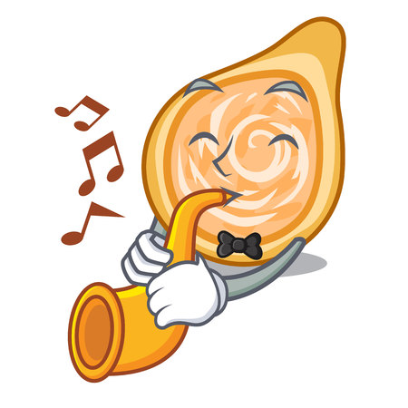 With trumpet chicken coxinha isolated on a mascot vector illustration Foto de archivo - 126726185