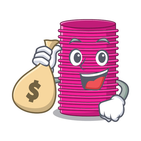 With money bag hair curlers isolated on a mascot vector illustration Illustration