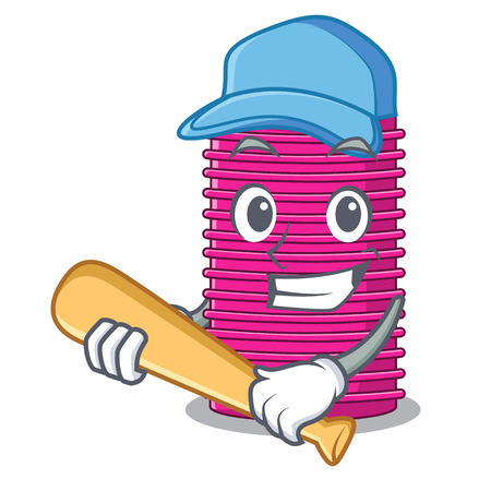 Playing baseball hair curlers isolated on a mascot vector illustration Vectores