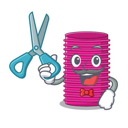 Barber hair curlers isolated on a mascot vector illustration