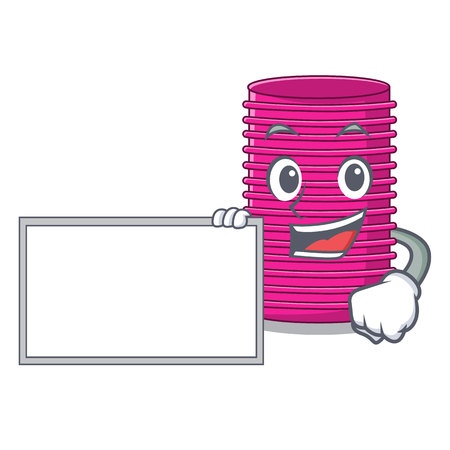 With board hair curlers isolated on a mascot vector illustration Vectores