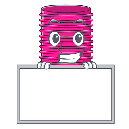 Grinning with board hair curlers isolated on a mascot vector illustration Vectores