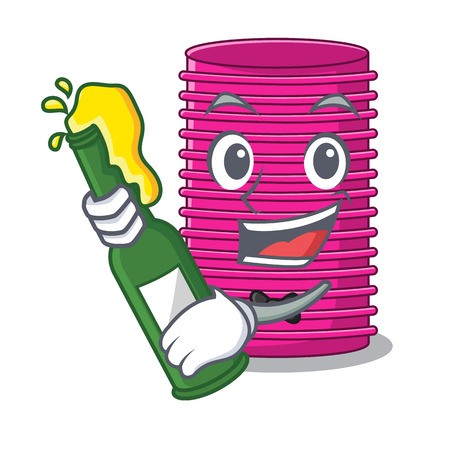 With beer curlers hair in shape cartoon funny vector illustration Vectores