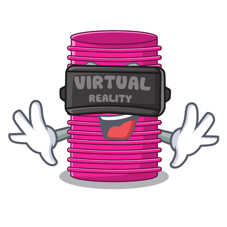 Virtual reality hair curler on the character table vector illustration
