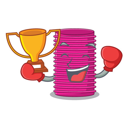 Boxing winner curlers hair in shape cartoon funny Vectores