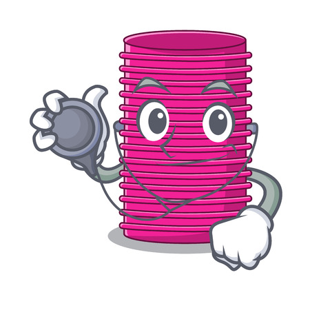 Doctor hair curlers isolated on a mascot vector illustration
