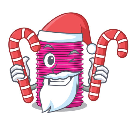 Santa with candy curlers hair in shape cartoon funny vector illustration Vectores