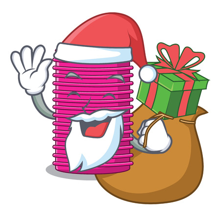 Santa with gift curlers hair in shape cartoon funny vector illustration Vectores