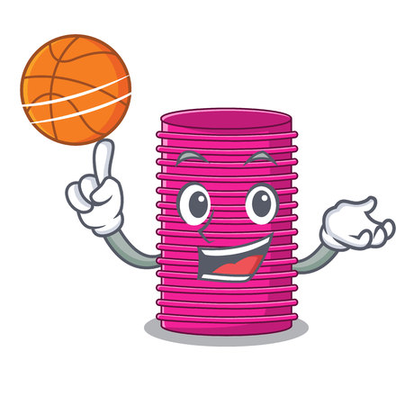 With basketball hair curlers isolated on a mascot vector illustration Vectores