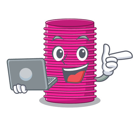 With laptop hair curlers isolated on a mascot vector illustration