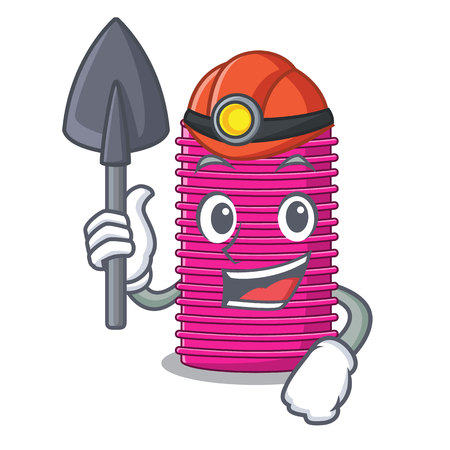Miner hair curler on the character table vector illustration