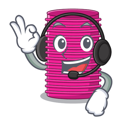 With headphone curlers hair in shape cartoon funny vector illustration
