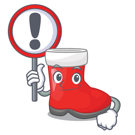 With sign christmas santa boots with shape cartoon vector illustration