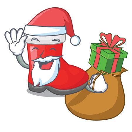 Santa with gift santa boots in shape a cartoon vector illustration Vector Illustration