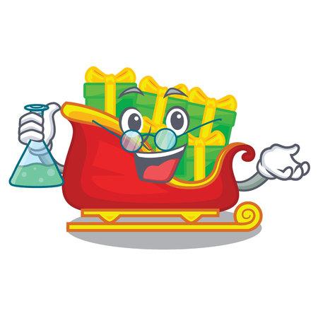 Professor santa claus sleigh in shape cartoon vector illustration