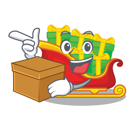 With box santa claus sleigh in shape cartoon vector illustration