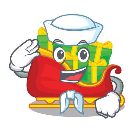 Sailor santa sleigh with piles presents cartoon vector illustration Ilustrace