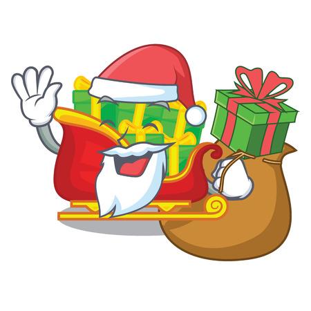 Santa with gift christmas Santa sleigh isolated on mascot vector illustrartion Illustration