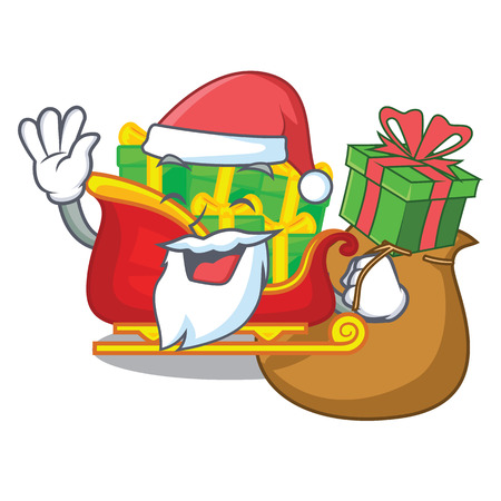 Santa with gift christmas Santa sleigh isolated on mascot vector illustrartion Illustration