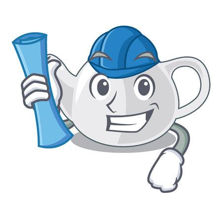 Architect porcelain teapot ceramic isolate on mascot vector illustration