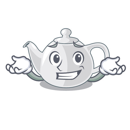Grinning porcelain teapot ceramic isolate on mascot vector illustration