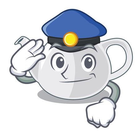 Police porcelain teapot with a pattern cartoon vector illustration
