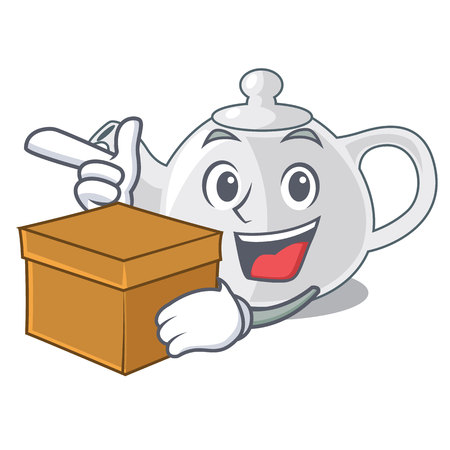 With box porcelain teapot ceramic isolate on mascot Illustration