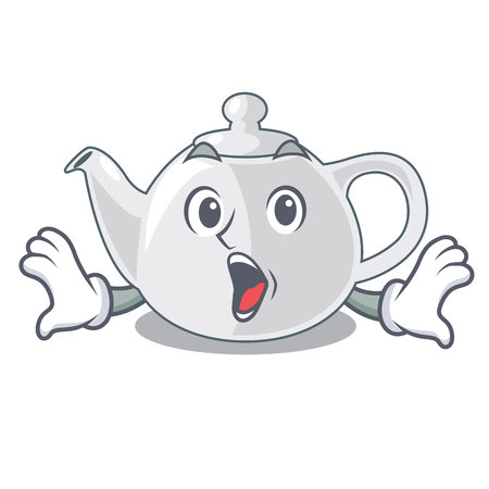 Surprised porcelain teapot in table a character vec tor illustration Ilustração