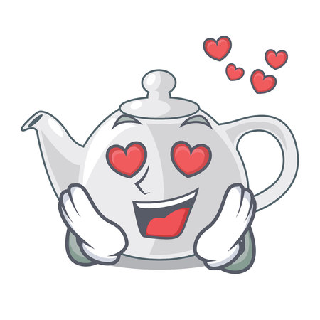 In love porcelain teapot in table a character vec tor illustration
