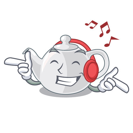 Listening music porcelain teapot in table a character vec tor illustration Ilustração