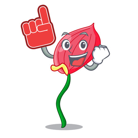 Foam finger pink anthurium flowers in character funny vector illustration