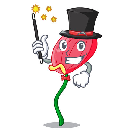 Magician pink anthurium flowers in character funny vector illustration