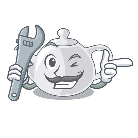 Mechanic teapot porcelain in a shape cartoon