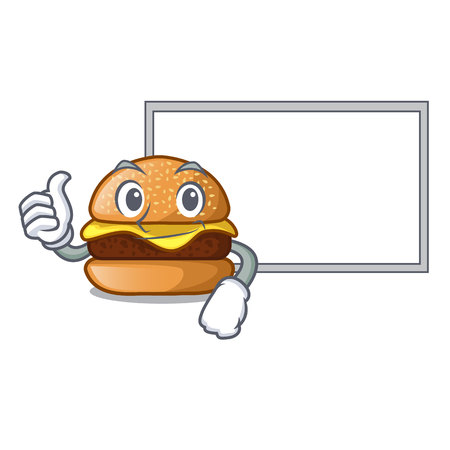 Thumbs up with board cheese burger isolated on a mascot vector illustration