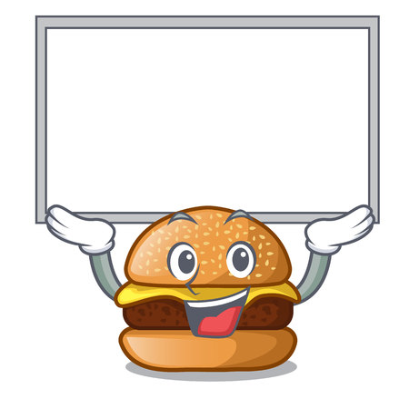 Up board cheese burger isolated on a mascot vector illustration