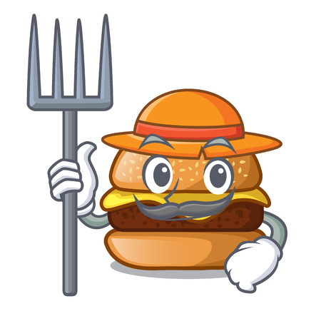 Farmer cheese burger isolated on a mascot vector illustration 向量圖像