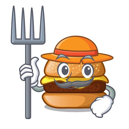 Farmer cheese burger isolated on a mascot vector illustration Illustration