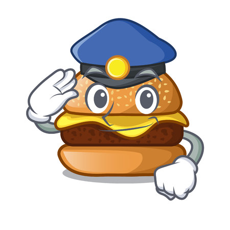 Police cheese burger isolated on a mascot vector illustration