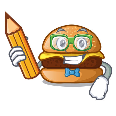 Student cheese tasty burger on character table Vectores