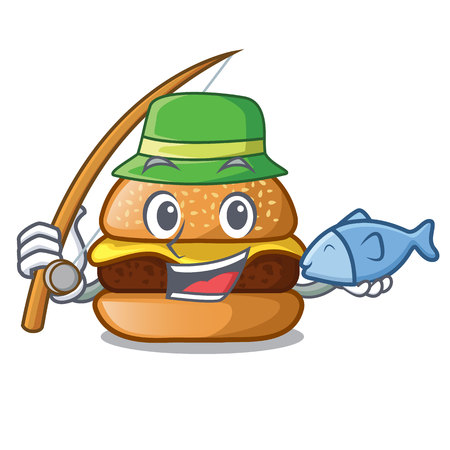 Fishing cheese burger located on plate cartoon