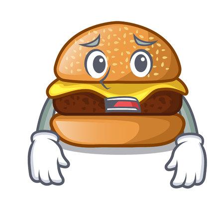 Afraid cheese burger located on plate cartoon