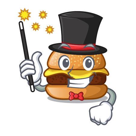 Magician hamburger with the cartoon cheese toping vector illustration Illustration