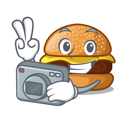 Photographer cheese burger located on plate cartoon vector illustration