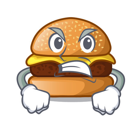 Angry cheese burger located on plate cartoon 写真素材 - 114078265
