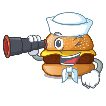 Sailor with binocular cheese burger located on plate cartoon vector illustration