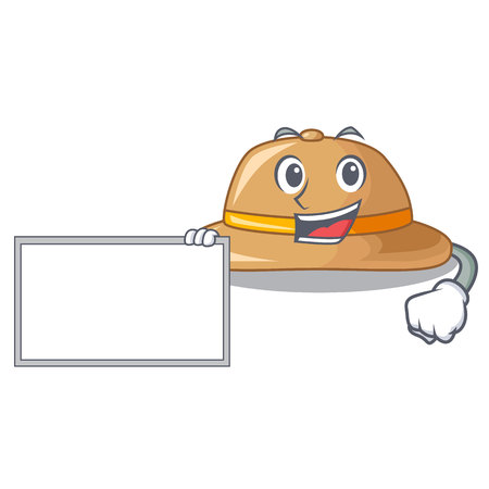 With board cork hat isolated on the mascot vector illustration