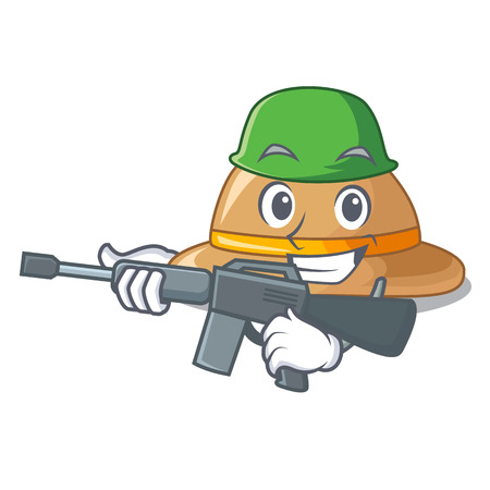 Army cork hat isolated on the mascot vector illustration
