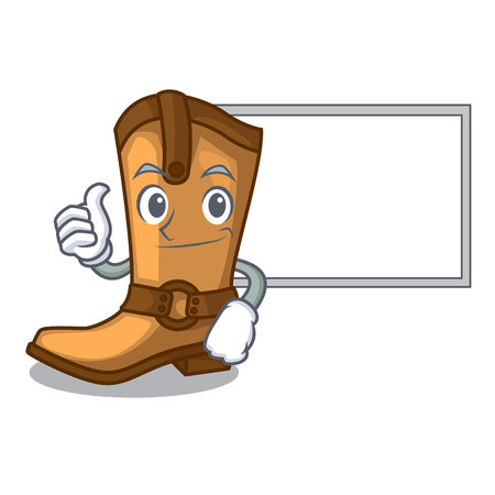 Thumbs up with board cowboy boots in the shape cartoon vector illustration